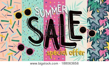 Sale banner. Trendy texture. Season vocation, weekend, holiday. Summer Time Fashion Wallpaper. Vector watercolor Lettering text.