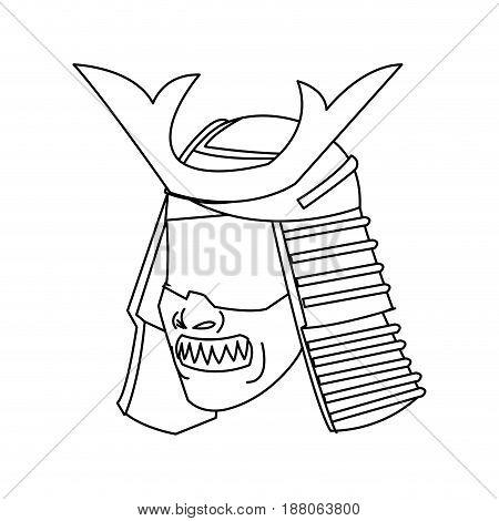 mask samurai helmet warrior image outline vector illustration