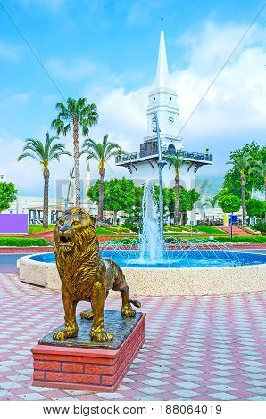 The Lion, Fountain And Tower In Kemer
