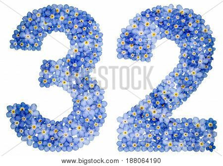 Arabic Numeral 32, Thirty Two, From Blue Forget-me-not Flowers