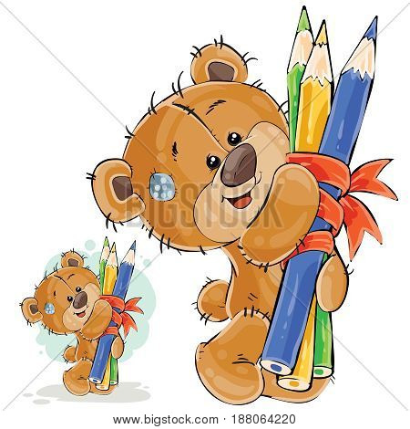 Vector illustration of a brown teddy bear holding in its paws a bunch of pencils linked by a ribbon. Print, template, design element
