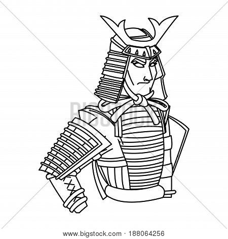 animation samurai man to ancient clothes. wearing armor helmet mask warrior vector illustration