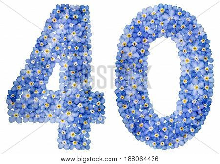 Arabic Numeral 40, Forty, From Blue Forget-me-not Flowers