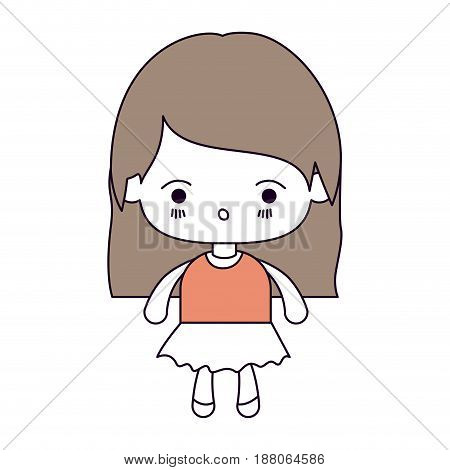 silhouette color sections and light brown hair of kawaii little girl with straight hair and facial expression surprised vector illustration