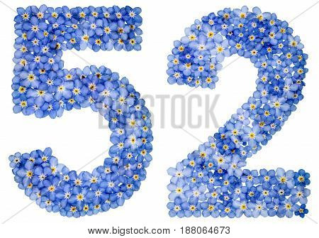 Arabic Numeral 52, Fifty Two, From Blue Forget-me-not Flowers