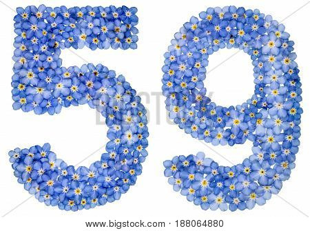 Arabic Numeral 59, Fifty Nine, From Blue Forget-me-not Flowers