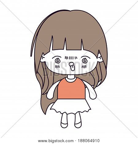 silhouette color sections and light brown hair of kawaii little girl with long hair and facial expression furious vector illustration