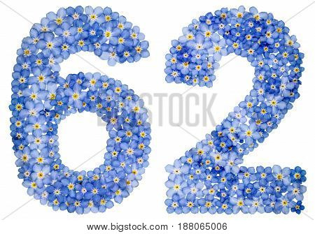 Arabic Numeral 62, Sixty Two, From Blue Forget-me-not Flowers