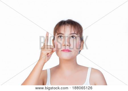 asian woman pointing finger up to something