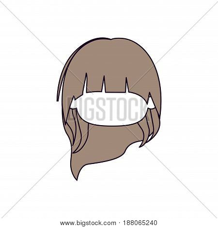 silhouette color sections and light brown hair of faceless head of little girl with long hair vector illustration