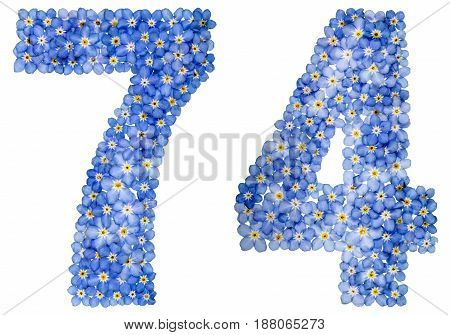 Arabic Numeral 74, Seventy Four, From Blue Forget-me-not Flowers