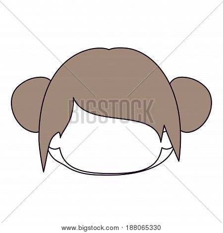 silhouette color sections and light brown hair of faceless head of little girl with double buns hairstyle vector illustration