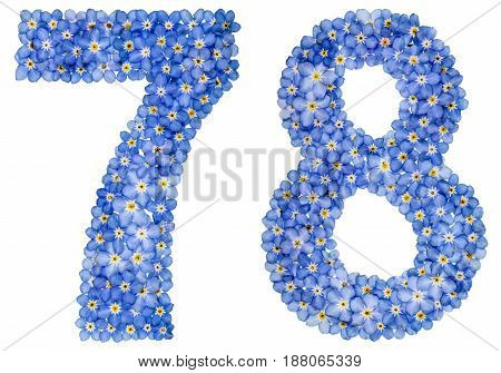 Arabic Numeral 78, Seventy Eight, From Blue Forget-me-not Flowers