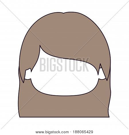 silhouette color sections and light brown hair of faceless head of little girl with straight hair vector illustration