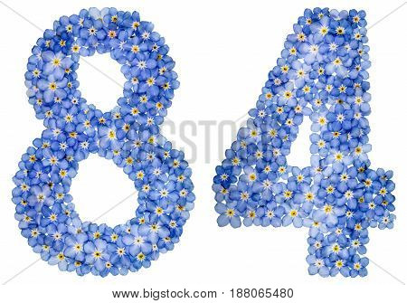 Arabic Numeral 84, Eighty Four, From Blue Forget-me-not Flowers
