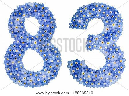 Arabic Numeral 83, Eighty Three, From Blue Forget-me-not Flowers