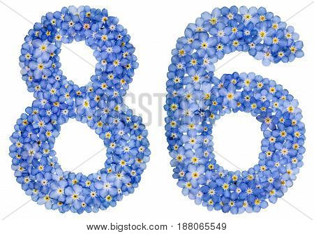Arabic Numeral 86, Eighty Six, From Blue Forget-me-not Flowers