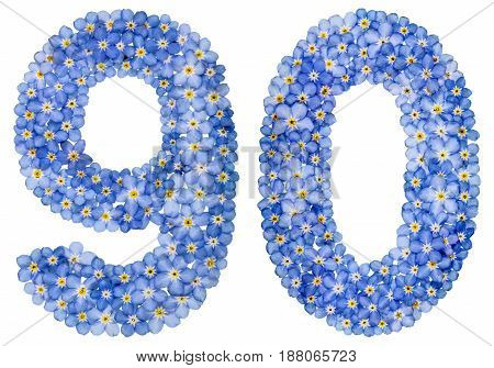Arabic Numeral 90, Ninety, From Blue Forget-me-not Flowers