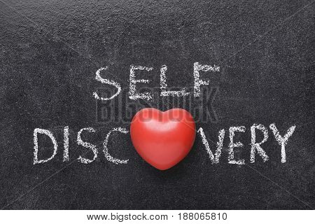 self discovery heart phrase handwritten on blackboard with heart symbol instead of O poster