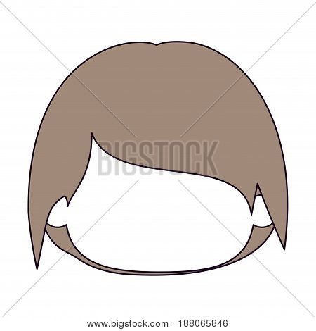 silhouette color sections and light brown hair of faceless head of little kid with short hair vector illustration