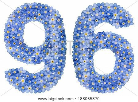 Arabic Numeral 96, Ninety Six, From Blue Forget-me-not Flowers