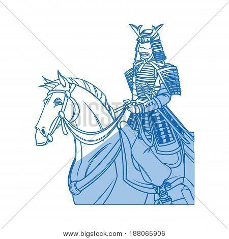 warrior samurai japanese character riding horse vector illustration