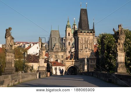 Charles Bridge And Mala Strana In Prague