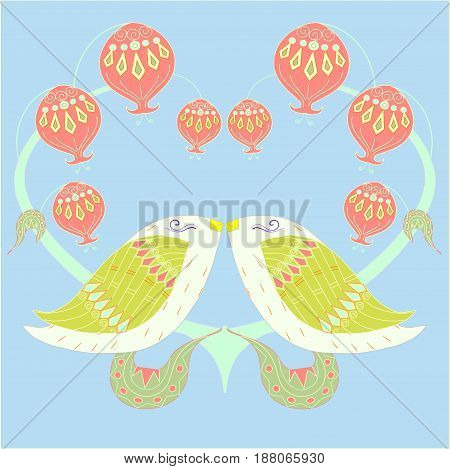 Colorful pair loving birds on blue for print, for decorated, for wedding stock vector illustration