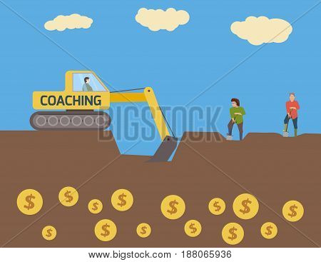 Metaphor about coaching. Concept of enrichment.Vector illustration.