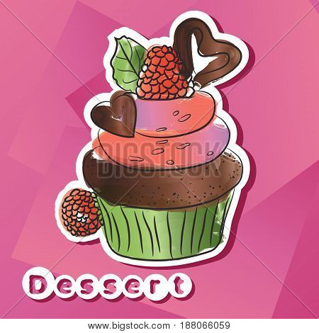 Vector sticker with dark chocolat cake with format eps10.