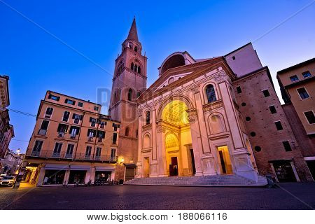Mantova City Piazza Andrea Mantegna Evening View