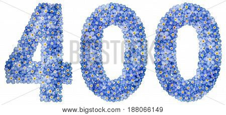 Arabic Numeral 400, Four Hundred, From Blue Forget-me-not Flowers
