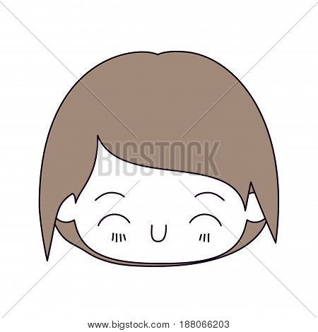 silhouette color sections and light brown hair of kawaii head of little boy with happiness facial expression in close up vector illustration