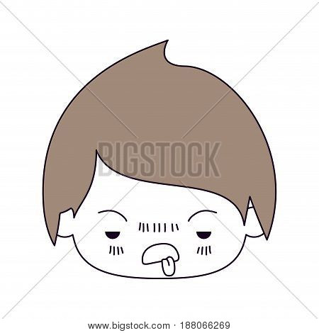 silhouette color sections and light brown hair of kawaii head of little boy with unpleasant facial expression in closeup vector illustration