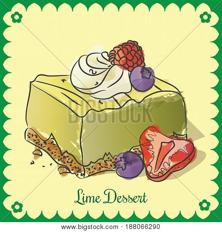 Vector lime dessert vintage style with format eps10.