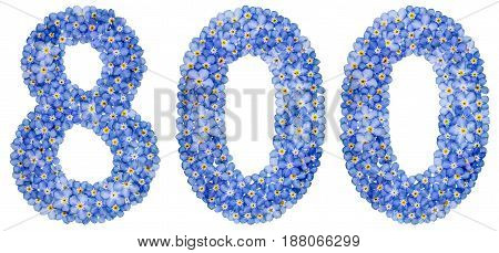 Arabic Numeral 800, Eight Hundred, From Blue Forget-me-not Flowers