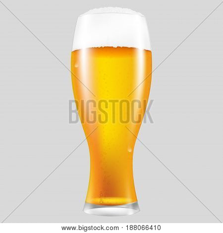 Realistic glass of beer with a fluffy foam. Vector isolated illustration.