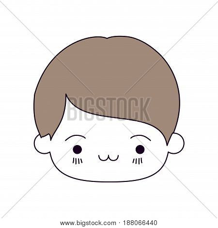 silhouette color sections and light brown hair of kawaii head of little boy with facial expression exhausted vector illustration