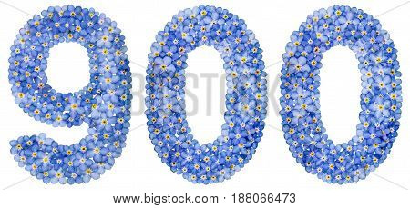 Arabic Numeral 900, Nine Hundred, From Blue Forget-me-not Flowers