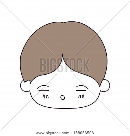 silhouette color sections and light brown hair of kawaii head of little boy with facial expression of tired vector illustration