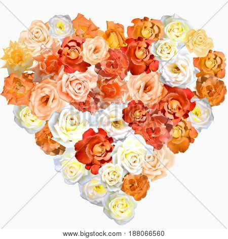 Heart shape made of roses in orange, yellow, beige and white colours