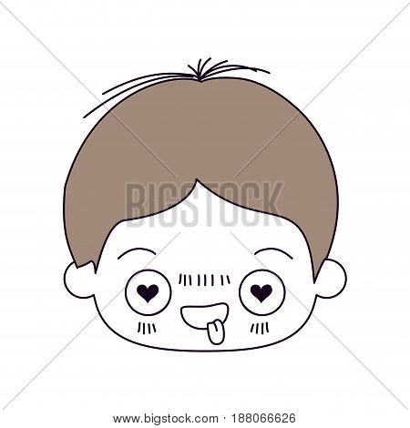 silhouette color sections and light brown hair of kawaii head of little boy with facial expression in love vector illustration
