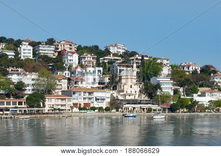 View of Burgazada island from the sea with summer houses and a small mosque. the island is the third largest one of four islands named Princes' Islands in the Sea of Marmara near Istanbul Turkey