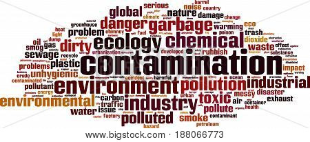 Contamination word cloud concept. Vector illustration on white