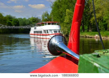 front part of the river ship, on the navigable river