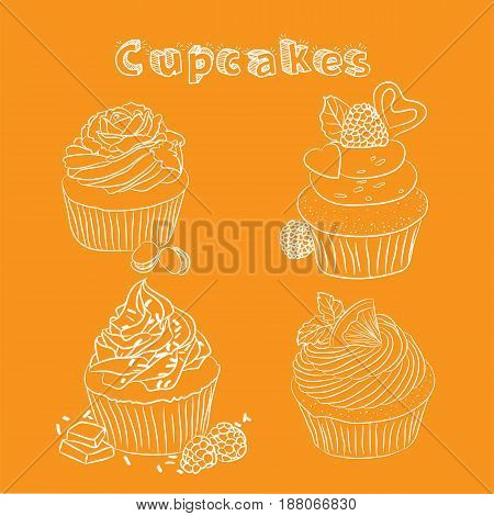 Vector scetch cupcake with orange background with format eps10