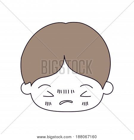 silhouette color sections and light brown hair of kawaii head of little boy with facial expression angry with closed eyes vector illustration