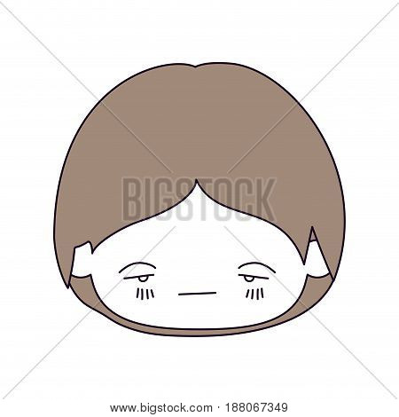 silhouette color sections and light brown hair of kawaii head of little boy with facial expression nervous vector illustration