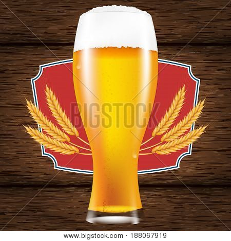 Realistic glass of beer with a fluffy foam. A table made of wooden boards. Vector illustration for a poster or advertisement.