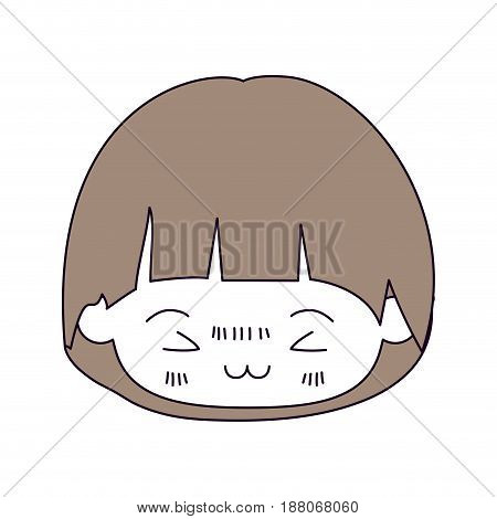 silhouette color sections and light brown hair of kawaii head of little boy with mushroom hairstyle and facial expression furious in closeup vector illustration